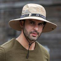 남성용 태양 모자 UPF 50+ 와이드 브림 버킷 대형 야외 낚시 해변 모자 카우보이 보호자 통기성 모자 사이클링 모자 마스크
