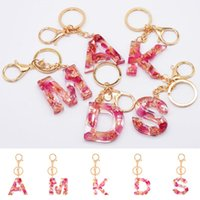 Keychains 26Letters Florial Pendant Keychain Resin Keyrings Cute Car Key Bag Acrylic Glitter Chain Holder Charm Couple Gifts