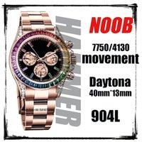 Saatı 904L Lüks Gül Altın Tona-Day Mekanik İzle 1: 1 Erkekler Klasik Elmaslar Çerçeve Safir Cam Chronograph Works ETA 7750 A