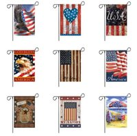 American Garden Flag Colorful Print Flags Banner Happy Americans Linen Fabric GardenFlag Gardens Decoration 300pcs SN2270
