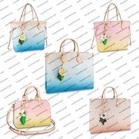 M57639 designer mulheres saco de compras gradiente cor gigante flor de lona acessórios de couro colorido couro colorido ontheego bolsa bolsa bolsa crossbody ombrobag