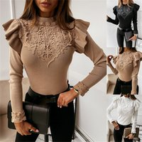 Elegant Women Sweaters Lace Ruffles Decor O-Neck Long Sleeve Solid Colors Women Shirt Slim Pullovers Knitted Top Clothes