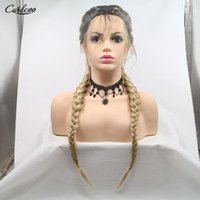 Synthetic Wigs 26 Inch Twist Braided Lace Front Wig Middle Parting Heat Resistant Cosplay Double Box Braid For Black Women