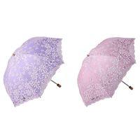 Umbrellas 2 Pcs Travel Parasol Folding Non-Uv Sunshade Vintage Umbrella Printed Glitter Design Umbrella, Pink & Purple