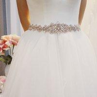 SLBRIDAL Rose Gold Crystal Wedding Belt Satin Rhinestones Evening Prom Dress Belt Bridal Ribbon Sash Women Wedding Accessories