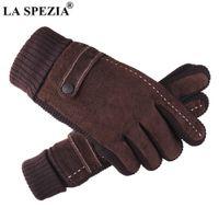 La Spezia Mens Luvas de couro Pigskin luvas de inverno preto marrom quente grosso condução luvas masculinas Guantes Y0910