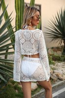 Women's Sexy Beach Cover Up Sets Hollow Out Crochet Floral Crop Tops And Skirt Bikini Bathing Suit Ups For Vocation Swimwear