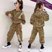 2021 весенняя новая девушка леопардовые сказки набор в большой детской корейской версии yang.com красный спортивный с капюшоном две части детская одежда