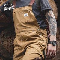 Pantalones para hombres Maden Vintage Jeans Motores Mensaje Mensaje TRABAJO DE CARGA BAJA BABGY BIB Contraste Pantalones de mezclilla