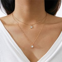 Pendant Necklaces HI MAN Exquisite Star Oval Crystal Double Layer Necklace Women Elegant Charm Birthday Gift Jewelry Accessories