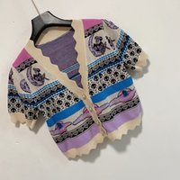 2021 WomenS Casual Dress Woman Sweaters Luxury Cardigan Pullover Knit Short Sleeve Summer Fashion Wear Classic Pattern Lady Tops Knitwear Ladies Sweater