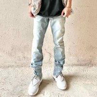 Zip Ankle Slim Stretch Denim Jeans Blue Vintage Washed Jogger Men Streetwear