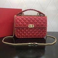 Hohe Qualität Brieftasche Berühmte Handtasche Handtasche Weibliche Niet Crossbody Bag Mode Retro Echte Ledertaschen