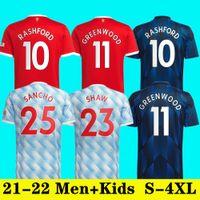 21 22 Ronaldo Sancho Shaw Manchester Soccer Jerseys United Fans Spielerversion Mann Bruno Fernandes Varane Martial Utd Rashford Football Hemd 2022 Herren + Kinder Kit Set