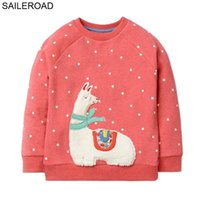 SAILEROAD Cotton Sheep Embroidery Kids Hoodies Sweatshirts for a Little Girls Clothing Spring Children Long Sleeve Shirts 210923