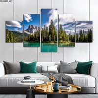 5 Pieces Mountain Lake Poster Canvas Painting Home Decor Wall Art Pictures For Living Room Sky Clouds Tree Indoor Decorations