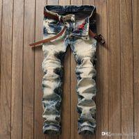 Fashion Mens Biker Jeans Men Slim Fit Pleated Motorcycle Denim Joggers Male Designer Cargo Jean Trousers Plus Size