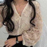 GagaNight Fashion Elegant Women Blusa de encaje Blusa de manga larga V Cuello Single Breasted Shirt Femenino Chifón coreano Blusas Chic 210519