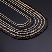 Retail Wholesale Silver Gold Black Necklace Women Man 2 3 4 Mm Twist Rope Chain Jewelry Accesory Chains
