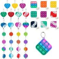 Party Favor Pop Decompression Fidget Toys Push Bubble Silicone Sensory Funny keychain Toys Anti Stress Bubble Board1524 T2
