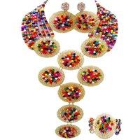 Pendientes collares hecho a mano multicolor nigeriano boda boda cuentas de joyería de cristal 10c-9ph-21