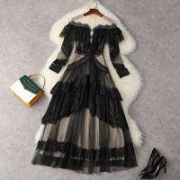 2021 Yaz Uzun Kollu Yuvarlak Boyun Siyah Kontrast Renk Dantel Tül Panelli Fırfır Detay Orta Buzağı Elbise Zarif Günlük Elbiseler 21W271756T12291
