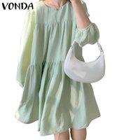 Casual Dresses Frauen Party Kurzes Kleid 2021 Vonda Elegant Einfarbig Frühling Langarm Sommerkleid Vestido Übergroße Robe