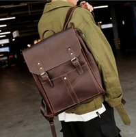 Factory wholesale men bag retro crazy horse leather backpack street trend plaid mens shoulder bags large outdoor cycling leisure leathers travel backpacks