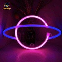 LED Planet Neon Signer USB Strip Holiday Éclairage de Noël Chambre Maison Fête Décorative Murale Night Feux pour Kid Cadeau