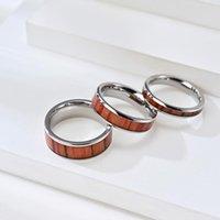 Anillo de chapa de madera con incrustaciones de acero de titanio de 468 mm para hombres y mujeres parejas de compromiso anillos de boda