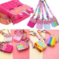 US-Bestände neueste Party Favor Push Bubble Handtasche Brieftasche Zappeln Schulter stationärer Tasche Sensorische Spielzeug für Frauen Kinder DHL FY2915