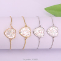 10Pcs Micro Pave Zircon CZ Shell Heart Connector Bead Adjustable Chain Bracelet Jewelry Gift For Women Link,