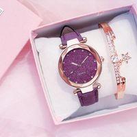 Relojes de pulsera Moda Mujeres Reloj Pulsera Starry Sky Muñeca Damas de Cuero Rhinestone Diseñador Reloj Simple Vestido Hora Montre Femme