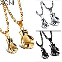 Fashion Mini Fist Glove Design Pendant Black Gold Silver Color Boxing Chain Stainless Steel Personality Necklace For Boys Chains