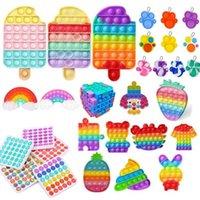 DHL arco-íris push Fidget Toy Sensory Push Bubble Fidget Sensory Autism Especial Necessidades de Ansiedade Relisor para Office Fluorescen Stock
