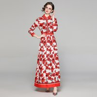 Luxury Fashion Runway Floral Maxi Dress Long Sleeve Women 2021 Designer Shirt Neck Office Ladies Slim A-Line Pleated Dresses Autumn Winter Party Printed Boho Frocks