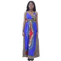 Vestidos Africanos para Mulheres Chegada África Roupas 100% Algodão Africano Dashiki Imprimir Sling Azul Vestido Longo Para Senhoras