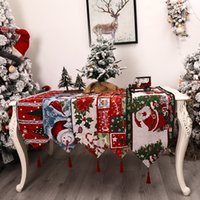 Family Christmas Table Runner Decoration Jacquard Tablecloth Home Decorations Xmas Tables Mat Dress Up Accessories
