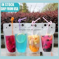 Water Bottles Drinkware Kitchen Dining Bar Home Garden 24H Ship 100Pcs Clear Drink Pouches Bags Frosted Zipper Standup Plastic Drinkin