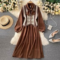 Woherb 2021 Spring Boho Suit Two Piece Outfits For Women Knitted Vest + Long Dress Korean Chic 2 Set Conjuntos Mujer Women's Tracksuits