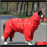 Apparel Supplies Home & Garden Drop Delivery 2021 Pet Large Dog Raincoat Outdoor Waterproof Clothes Hooded Jumpsuit Cloak For Small Big Dogs