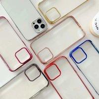 Bling de lujo cromado Casas de TPU suave y transparente para iPhone 13 Pro Max 2021 Mini Phone13 iPhone13 Plating Metálico Transparente Transparente Cubierta de teléfono inteligente Piel