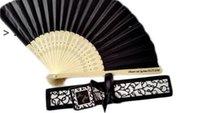Ventilatore a mano di seta lussuosa personalizzata in elegante confezione regalo a taglio laser + favori per feste / regali di nozze + stampa owe9962