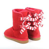 Bow snow boots ladies australia women booties winter 3280G middle classic wool suede ankle boot velvet outdoor warm plush gIrl shoes sneakers grey chestnut shoe