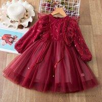 女の子赤レースチュールドレス子供ガーゼスパンコール刺繍ファルバラフライスリーブプリンセスドレスクリスマス子供パーティー服Q2287