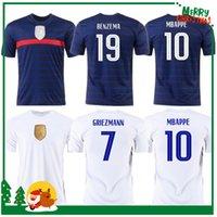 유로 2021 컵 벤즈마 MBappe Griezmann 축구 유니폼 Pogba Giroud France Kante Maillot de Foot Equipe Maillots 축구 셔츠 유니폼 La Men + Kids Kit