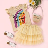 Kids Clothing Sets Girls Outfits Baby Clothes Children Wear Summer Cotton Short Sleeve Rainbow Top T-shirts Mesh Lace Tutu Tiered Skirts 2Pcs B6210