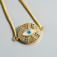 Глаз браслет Pave CZ Кубический циркокон синий глаз золотой цвет цепи очарования браслетов регулируемые женские вечеринки браслеты винтажные ювелирные изделия 988 Q2