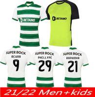 Sporting CP 21 22 Lisboa Soccer Trackss Lisbon Vietto Coates Acuna Home Oled 2021 2022 Sporting Clube de Футбольная Рубашка Maillots de Foot Tops Взрослые Вентиляторы Версия