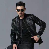 Модный дизайн мужской череп вышитая кожаная куртка с толстым бейсбольным воротником мотоцикл пальто